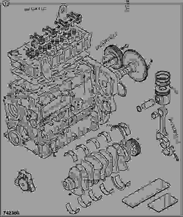 Схема запчастей ENGINE, LONG, 320/40061 - ITL JCB 320/50030 - JCB444 4 CYLINDER ENGINE PARTS CATALOGUE, 9802/2910 4 CYLINDER NATURALLY ASPIRATED OVERHAUL KITS ENGINE, LONG, 320/40061 | 777parts