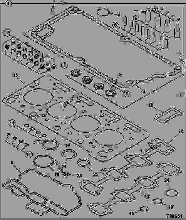 Схема запчастей GASKET SET, TOP OVERHAUL - ITL JCB 320/50030 - JCB444 4 CYLINDER ENGINE PARTS CATALOGUE, 9802/2910 4 CYLINDER NATURALLY ASPIRATED GASKET SETS GASKET SET, TOP OVERHAUL | 777parts