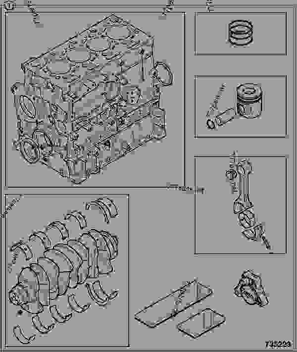 Схема запчастей ENGINE, SHORT, 320/40059 - ITL JCB 320/50030 - JCB444 4 CYLINDER ENGINE PARTS CATALOGUE, 9802/2910 4 CYLINDER NATURALLY ASPIRATED OVERHAUL KITS ENGINE, SHORT, 320/40059 | 777parts