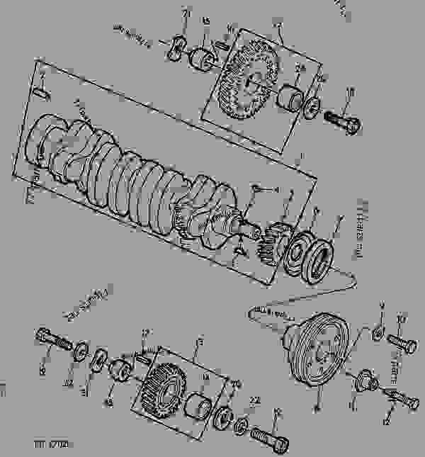 Схема запчастей CRANKSHAFT/TIMING GEARS/MAIN BEARINGS [01B01] - КОМБАЙН John Deere 942 - COMBINE - 932, 942 Combines 20 ENGINE CRANKSHAFT/TIMING GEARS/MAIN BEARINGS [01B01] | 777parts