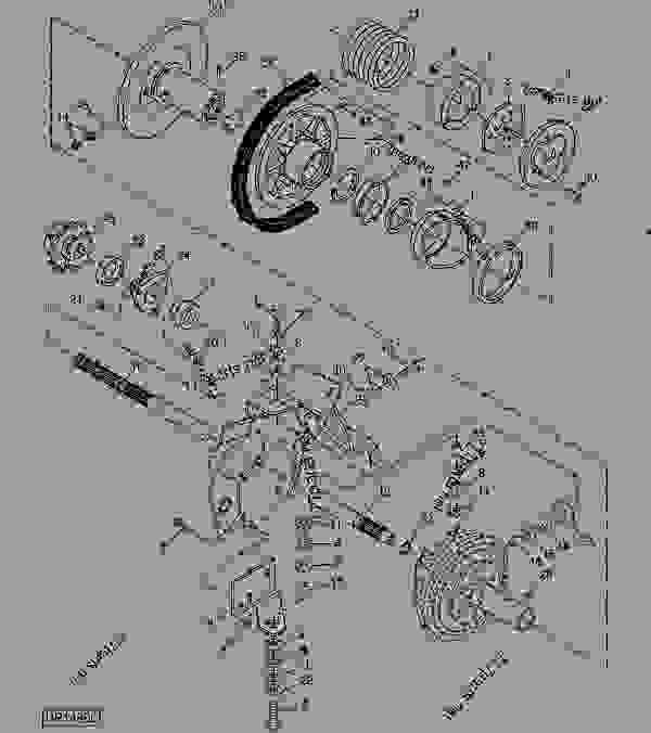 Схема запчастей FRONT DRIVE SHAFT, SHEAVE AND MOUNTINGS (VARIABLE SPEED) - КОМБАЙН John Deere 9560 - COMBINE - 9560 and 9560SH Self-Propelled Combines (North American Edition) ПИТАТЕЛЬ FRONT DRIVE SHAFT, SHEAVE AND MOUNTINGS (VARIABLE SPEED) | 777parts