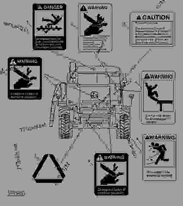 Схема запчастей SAFETY DECALS AND ROADWAY MARKINGS LOCATIONS - КОМБАЙН John Deere 9560 - COMBINE - 9560 and 9560SH Self-Propelled Combines (North American Edition) НАКЛЕЙКИ SAFETY DECALS AND ROADWAY MARKINGS LOCATIONS | 777parts
