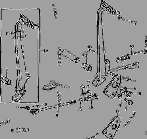 Схема запчастей CLUTCH PEDAL AND LINKAGE [01G07] - ТРАКТОР John Deere 820 - TRACTOR - 820 Utility Tractor (North American Version) 50 POWER TRAIN CLUTCH PEDAL AND LINKAGE [01G07] | 777parts