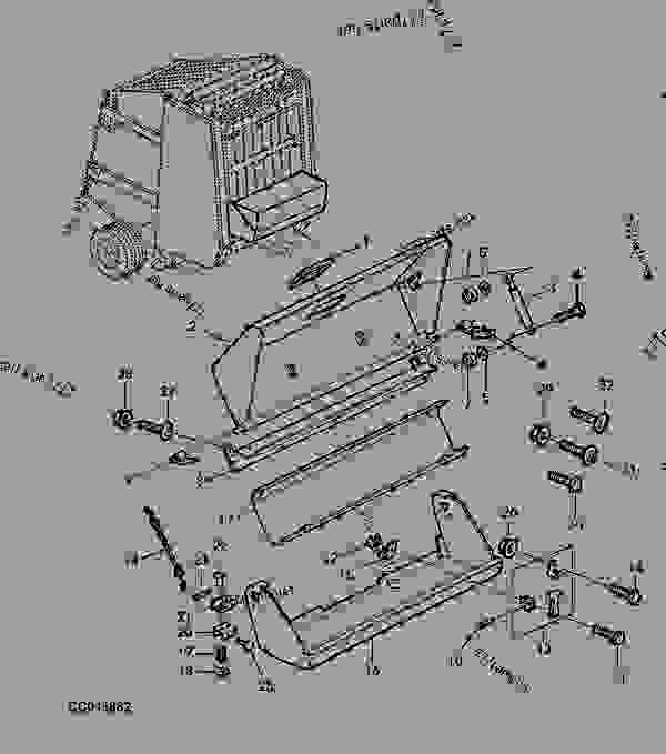 Схема запчастей FRONT BOX FOR TWINE ROLLS - ПРЕСС-ПОДБОРЩИК, КРУГЛЫЙ John Deere 570 - BALER, ROUND - 570, 580, 590 Round Balers (European Edition) TWINE BOX AND TWINE CUTTER FRONT BOX FOR TWINE ROLLS | 777parts