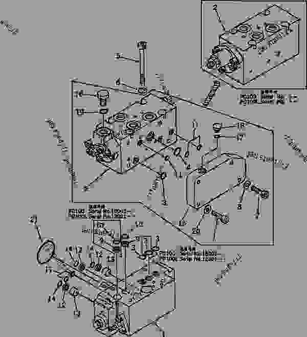Схема запчастей SERVO VALVE? REAR (1/2) - Эксаватор Komatsu PC100L-3 - WORK EQUIPMENT CONTROL SYSTEM | 777parts