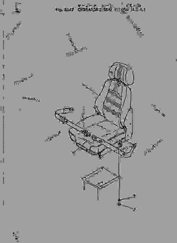 Схема запчастей OPERATOR'S SEAT (1) (FOR U.S.A)(#1430-) - Эксаватор Komatsu PC150-1 - OPTIONAL PARTS (SPECIAL APPLICATION PARTS) | 777parts